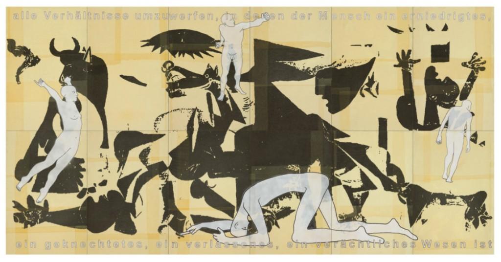hanfried brenner - der sturz / 2013 / Filzstift, Acrylfarbe, Leinölfirnis, Verbandmull, Acrylemulsion auf 12 Press-Spanplatten (über Holzrahmen verleimt) / 244 x 480 x 5 cm