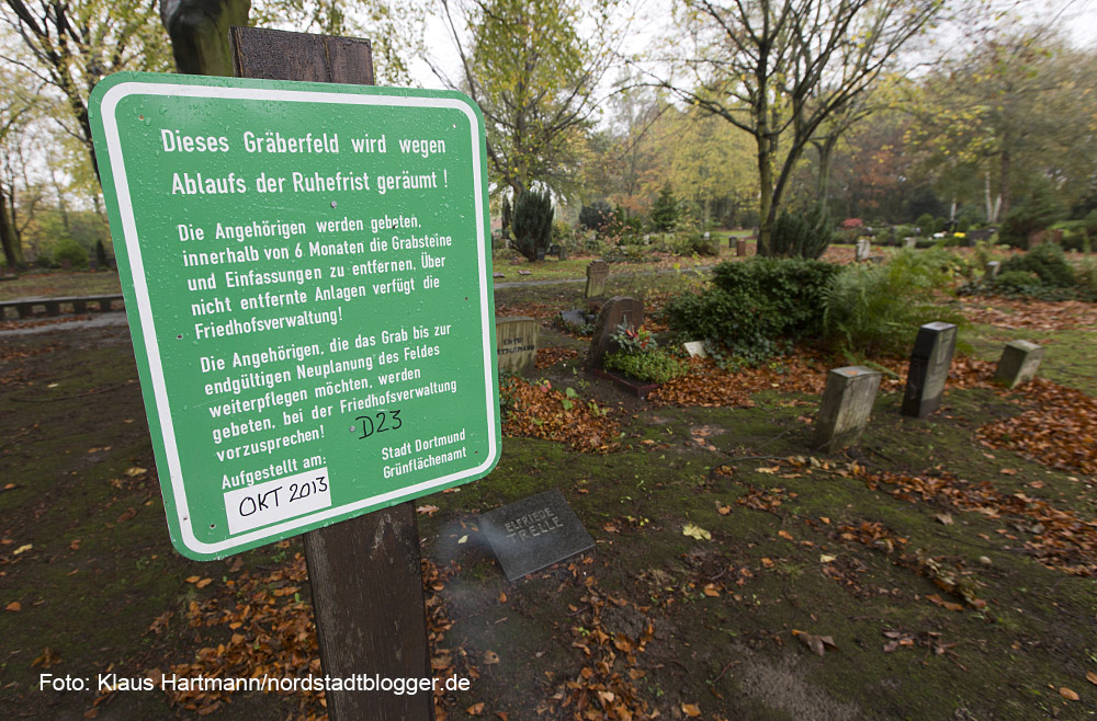 Auf dem Nordfriedhof werden Gräberfelder nach Ablauf der Ruhefrist geräumt