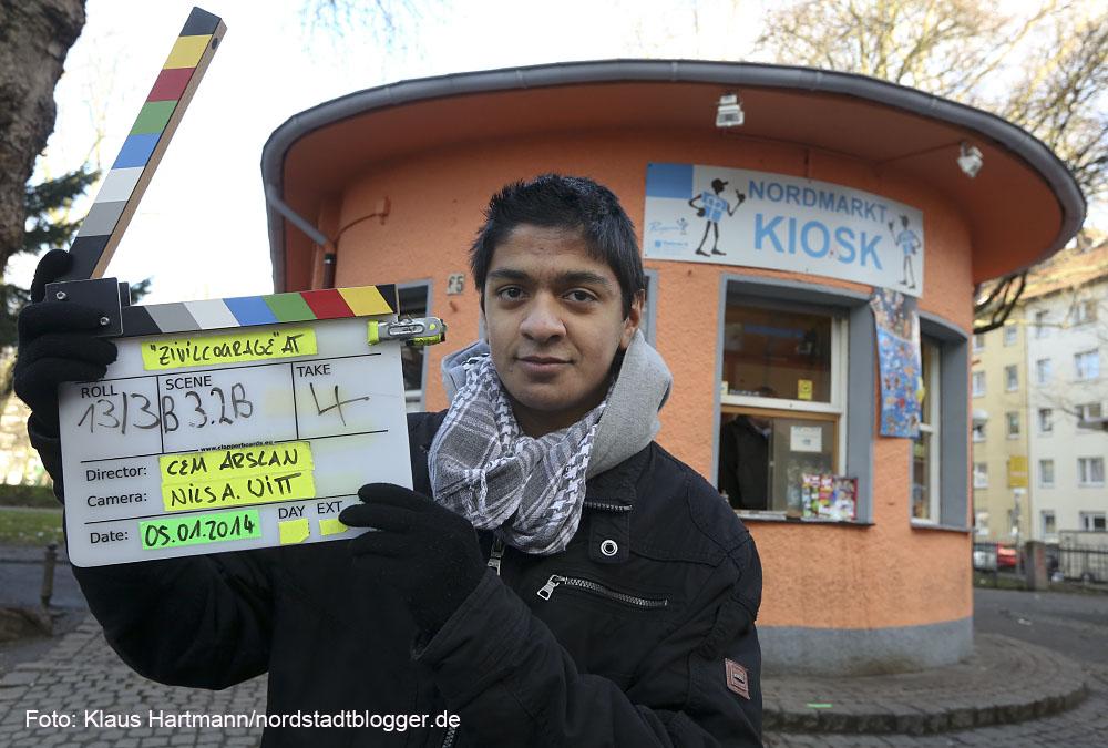 Dreharbeiten zum Film Zivilcourage am Nordmarkt