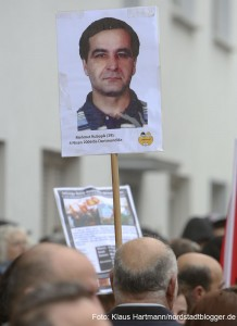 Gedenken an den Mord an Mehmet Kubasik. Plakat mit Bild des ermordeten Mehmet Kubasik