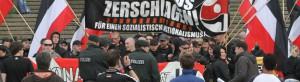 Rechtsextreme Demonstration am Vorabend des ersten Mai an der Katharinentreppe