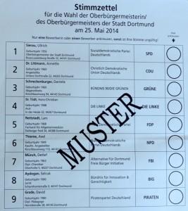 Stimmzettel für die Wahl Dortmunder Oberbürgermeisters.