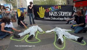 Kreative Aktionen wie zur Verdeutlichung der Morde durch Neonazis sind Markenzeichen des Bündnisses.