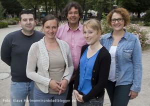 Das Team vom Quartiersmanagement Nordstadt auf dem Nordmarkt. V. l.: Devrim Ozan, Heike Schulz, Martin Gansau, Lydia Albers und Jana Heger