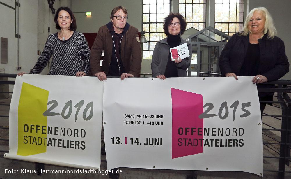 Offene Nordstadtateliers 2015. v. l.: Susanne Beringer, A. Diéga, Rita Maria Schwalgin und Brigitte Bailer