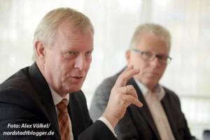 Jörg Stüdemann und Gerd Mehlgarten präsentierten der Presse den Haushalt.