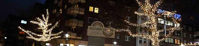 Einweihung der Adventsbeleuchtung in der Münsterstraße – Finanzierung durch die Wirtschaftsförderung