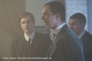 Letzte Dreharbeiten zum Film: Am Borsigplatz geboren, Franz Jacobi und die Wiege des BVB am Originalschauplatz. Der erste Vorsitzende im Film, Heinrich Unger