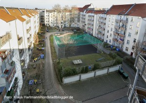 Blickfang Schüchtermanncarree, Wohnqualität lockt Mieter in die Nordstadt. Blick in den Innenhof