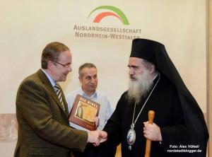 Klaus Wegener, Präsident der Auslandsgesellschaft NRW e.V., Dr. Hisham Hammad, Palästinensische Gemeinde zu Dortmund e.V. und der Erzbischof von Jerusalem.