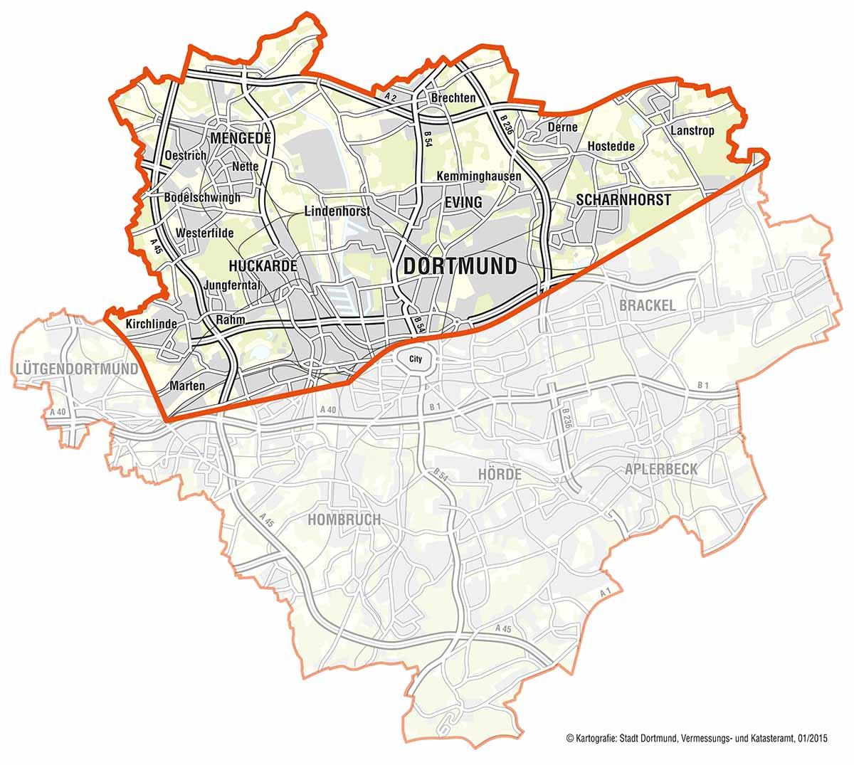"""Sieben Stadtbezirke sind in """"Nordwärts"""" ganz oder teilweise einbezogen."""