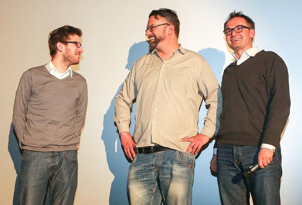 Premiere des Films über BvB-Gründer Franz Jacobi im Cinestar. Freuen sich über den Erfolg des Films: Jan-Henrik Gruszecki, Marc Quambusch und Gregor Schnittker