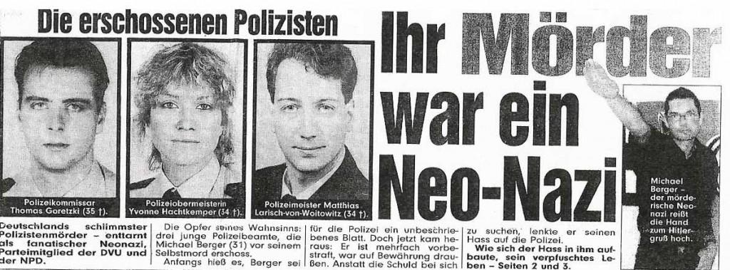 Ausriss aus der Bild-Zeitung - die Morde machten bundesweit Schlagzeilen.