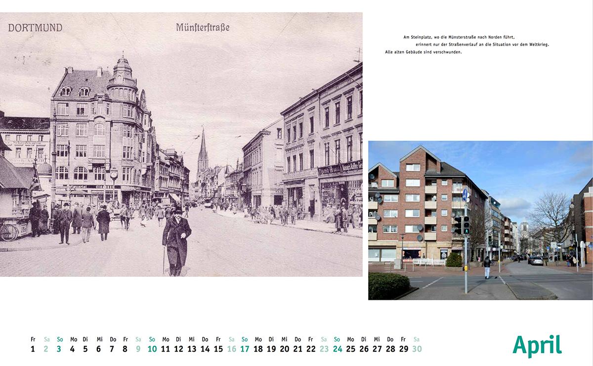 Kalenderblatt April mit Blick in die Münsterstraße vom Steinplatz aus