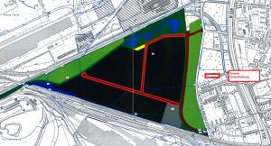 So stellt sich die Stadtplanung die innere Erschließung der ehemaligen Sinteranlage vor.