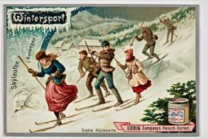 """Liebig-Sammelbild """"Skylaufen (Norwegen)"""" aus der Serie Wintersport, 1896 Foto: Jürgen Spiler"""