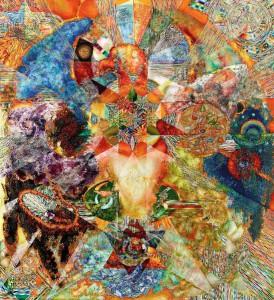 Doerte Kraft: Ohne Titel, 2012, Mischtechnik auf Leinwand, 220 × 200 cm In der Alchemie wurde der Prozess der Fermentation und das daraus resultierende Ergeb- nis unter anderem mit der Geburt des Phoenix illustriert. Die Künstlerin Dörte Kraft ver- wendet diese Symbole für ihre eigene Interpretation des Prozesses.
