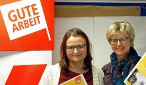 Jugendbildungsreferentin Tina Malguth und DGB-Chefin Jutta Reiter. Foto: Joachim vom Brocke