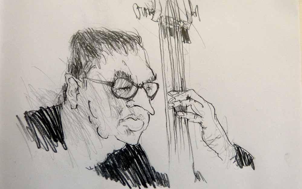 Günter Rückert hat den Musiker Django Kroll skizziert.