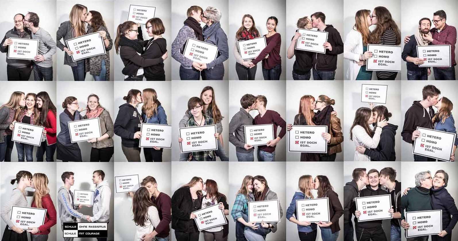 """Das Max-Planck-Gymnasium,präsentierte die Ergebnisse der Fotoaktion """"Dein Gesicht gegen Homophobie""""."""