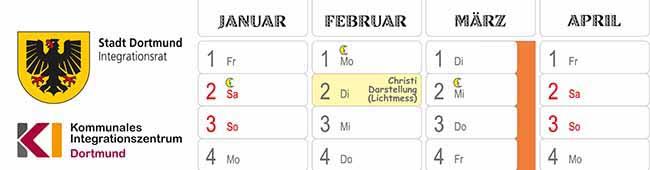 Der neue interkulturelle Kalender ist wieder kostenlos bei der Stadt Dortmund erhältlich