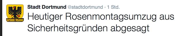 UPDATE: Unwetter-Warnung: Rosenmontagszug in Dortmund ist abgesagt – Zoo und Friedhöfe bleiben geschlossen