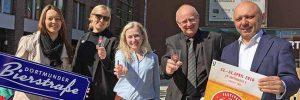 Freuen sich auf das erste Bierfest: Sarah Schwefer (Marketing Dortmunder Brauereien), Lena Tom Dieck (Projekt-Mitarbeiterin), Jasmin Vogel (Leitung Marketing Dortmunder U), Kurt Eichler (Geschäftsführer Dortmunder U), Oliver Sopalla (Go Between, Veranstalter).
