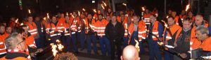 Die Nachtschicht von ThyssenKrupp Rothe Erde waren die ersten beim Warnstreik.