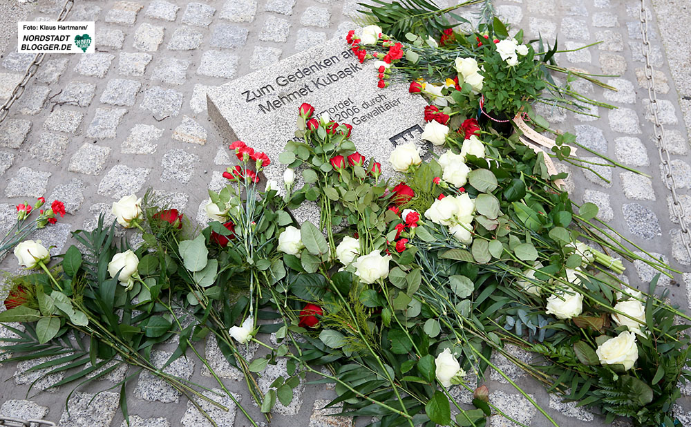4. Tag der Solidarität gedenkt dem NSU-Mordopfer Mehmet Kubasik. Der Gedenkstein in der Mallinckrodtstraße