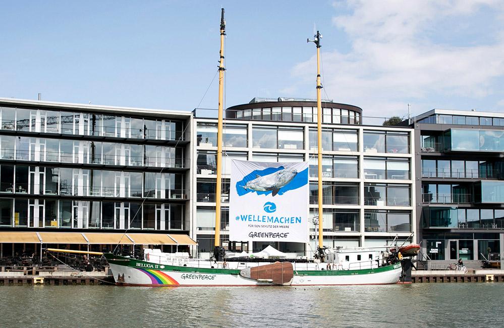 """Im Rahmen der Kampagne """"Welle machen für den Schutz der Meere"""" legt das Greenpeace-Schiff Beluga II in Dortmund an. Foto: Pascal A. Rest/ Greenpeace"""