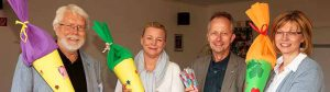 v.l. n. r: Dr. Horst Röhr(erster Vorsitzender Dortmunder Tafel) , ZÄ Katrin Menzebach (erste Vorsitzende DOZV) , Dr. Joachim Otto (Vorstand DOZV), Petra Maffei (ehrenamtl. Mitarbeiterin Dortmunder Tafel). Foto:M. Fricke