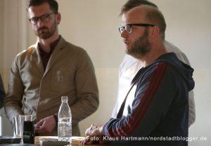 Drei Steine, illustrierter Roman von Nisl Oskamp über Dortmunder Neonazis wird in der Steinwache vorgestellt. David Schraven, vorne