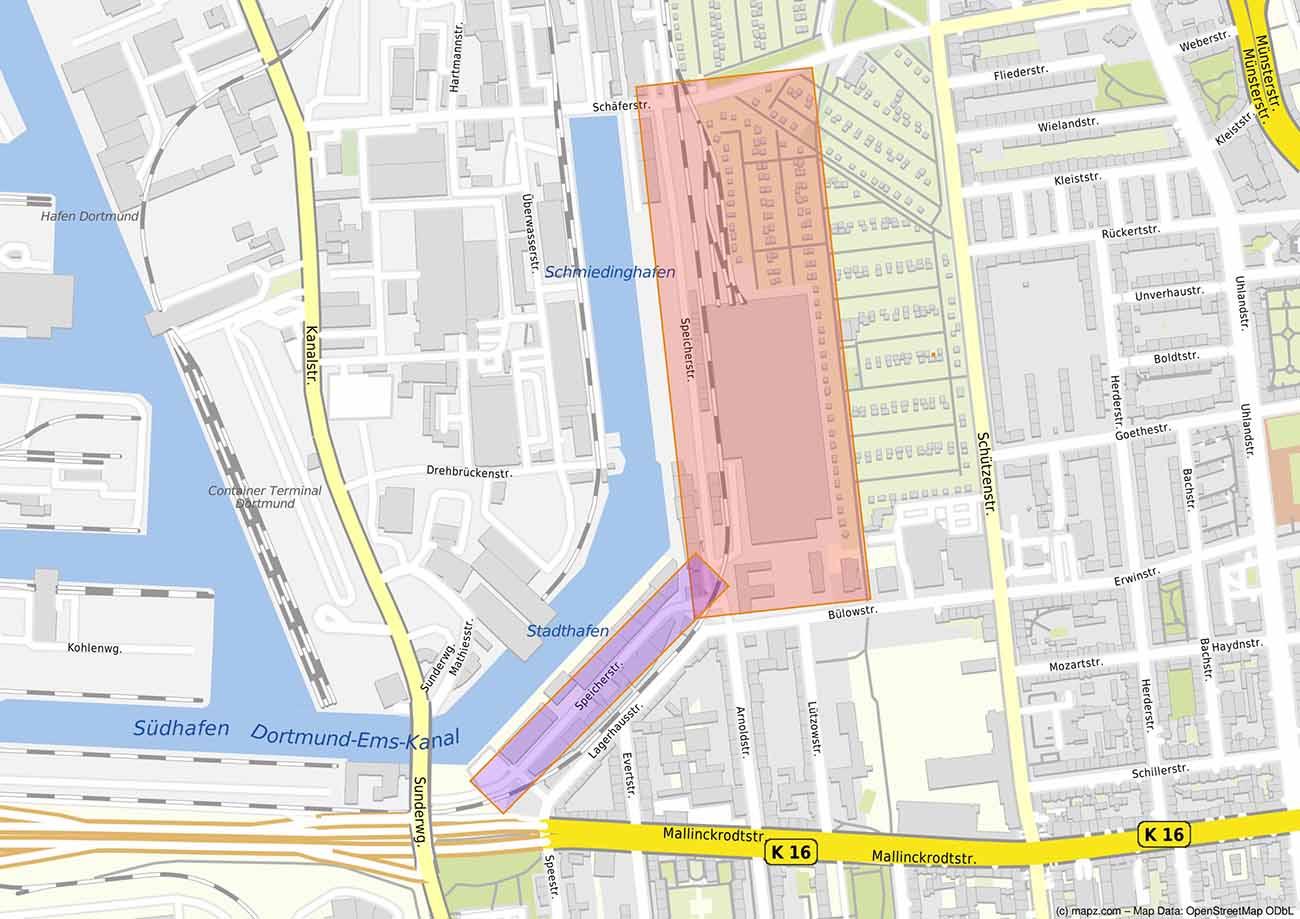 Die zwei Teilbereiche der Speicherstraße sollen entwickelt werden. www.mapz.com