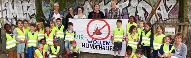 Nordstadt-Kinder im Einsatz gegen Hundekot auf dem Spielplatz: Große Schilder für den Bürgergarten gestaltet