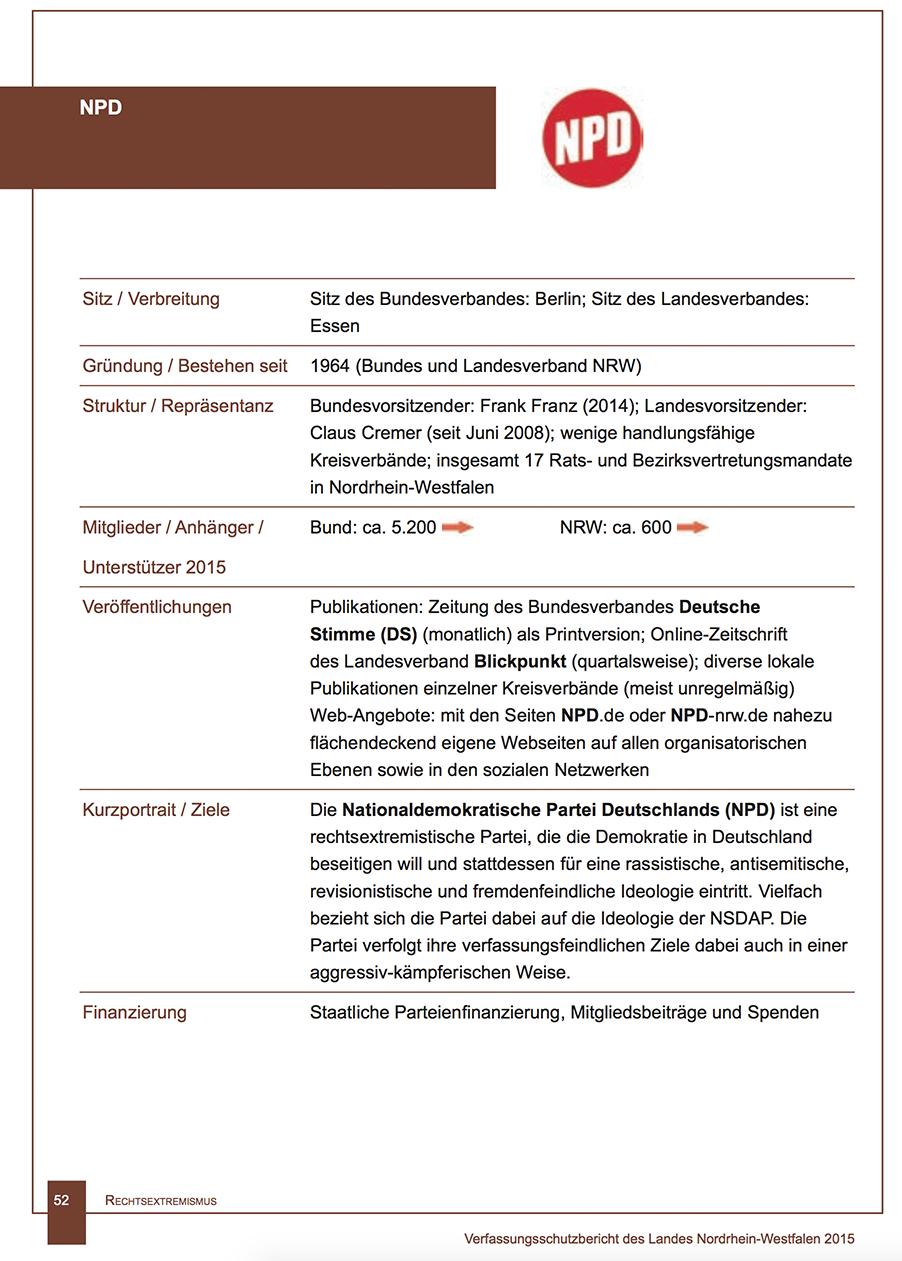 NRW-Verfassungsschutz 2015 zur NPD