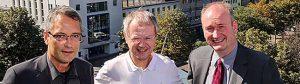 Der Dortmunder Superintendent Ulf Schlüter mit Prof. Christoph Butterwegge und Michael Stache, Moderator der Konferenz (v.l.).