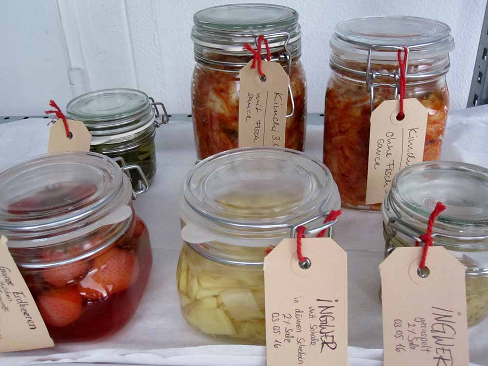 In Workshops werden Lebensmittel fermentiert, also mit Hilfe von Mirkoorganismen nährstoffreich haltbar gemacht.