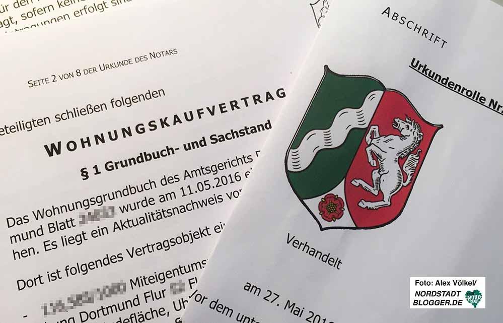 Notarieller Kaufvertrag für Wohneigentum in Dortmund.