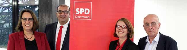 Anja Butschkau, Volkan Baran, Nadja Lüders und Armin Jahl wollen für die SPD Dortmund in den Landtag