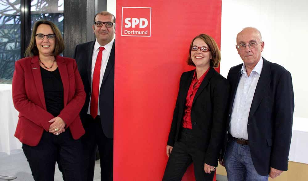 Wollen die vier Direktmandate in Dortmund holen: Anja Butschkau, Volkan Baran, Nadja Lüders und Armin Jahl.