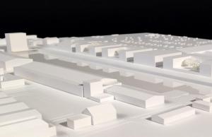 Vier u-förmige Bürokomplexe und eine Quartiergarage sind geplant. Entwurf: Gerber