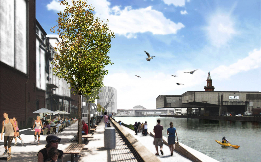 So könnte die neue Hafenpromenade am Schmiedinghafen aussehen. Entwurf: Gerber