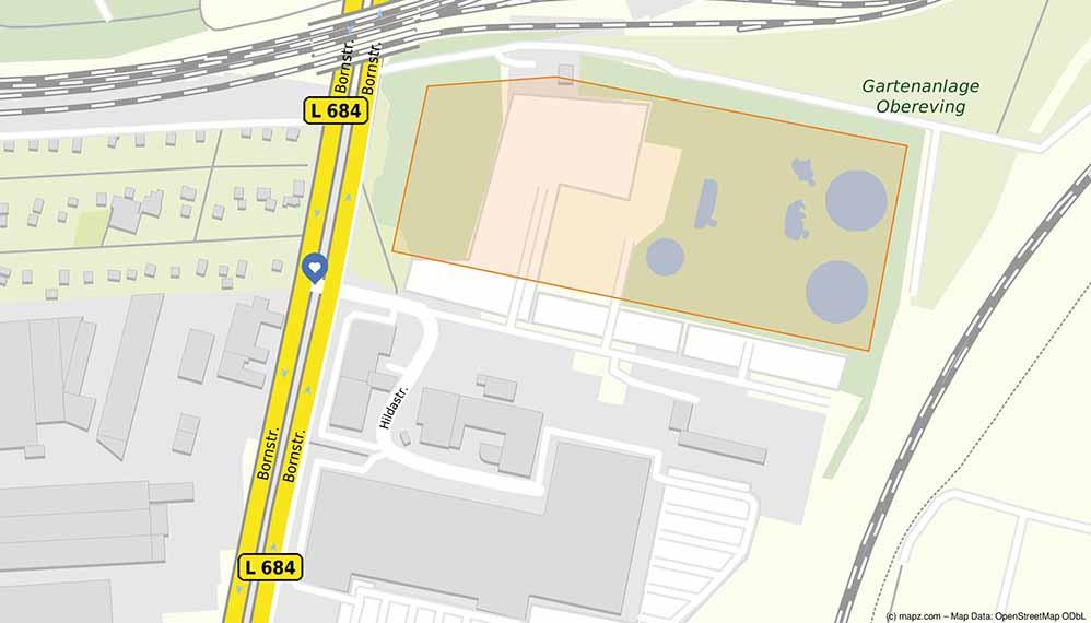 nNördlich der Hildastraße soll das neue Möbelhaus gebaut werden. Karte: www.mapz.com