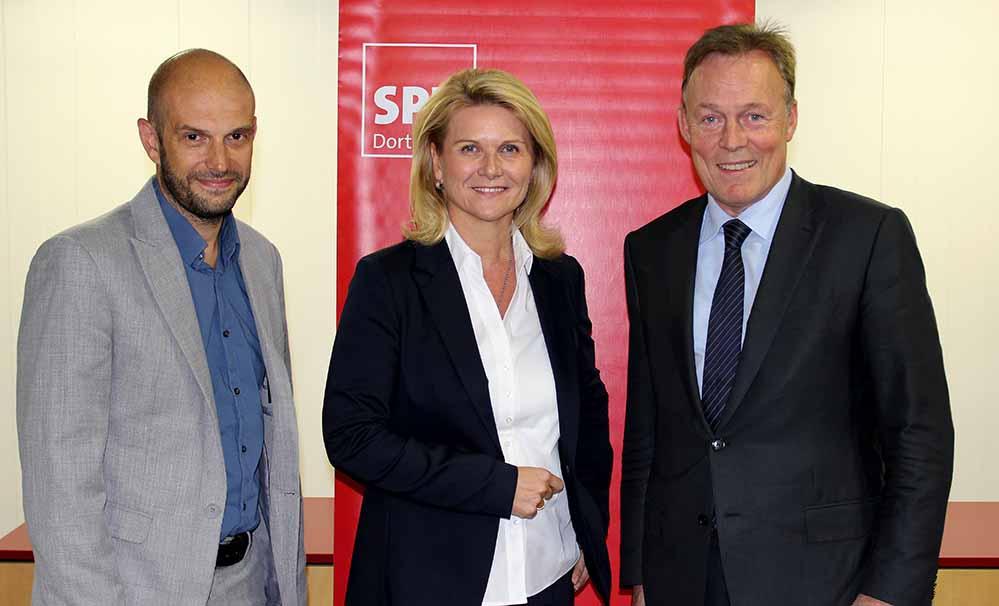 Marco Bülow (Kandidat im Bundestagswahlkreis 142), Sabine Poschmann (Kandidatin im Bundestagswahlkreis 143), und Thomas Oppermann (Vorsitzender der SPD-Bundestagsfraktion).