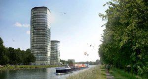 21 Etagen im größeren und elf Etagen im kleineren Port-Tower würden bieten bis zu 1800 Arbeitsplätze.