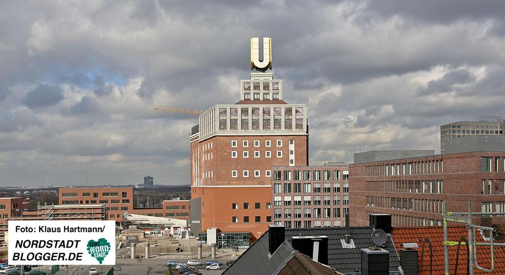 Der U-Turm ist prägend für das Stadtumbaugebiet Rheinische Straße.
