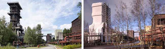 Wahrzeichen der Kokerei Hansa in Huckarde ist eingerüstet: Der Kokslöschturm 0 wird für 716.000 Euro saniert