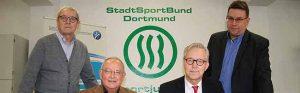 Kurt Schweinert, stellv. Vorsitzender des SSB/ Jörg Rüppel, Vorstandsvorsitzender des SSB, Polizeipräsident Gregor Lange und Holger Maurer, Vorsitzender der Sportjugend Dortmund.