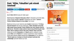 """2015 titelte die Tageszeitung Yeni Akit """"Ja; Hitler wollte die Juden nicht vernichten"""". Der Autor: Abdurrahman Dilipak."""