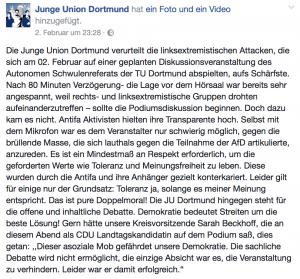 Das Posting der JU Dortmund bei Facebook